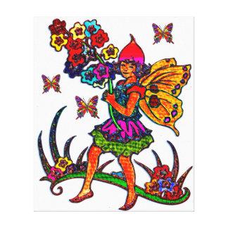 Mariposas florales del chica de la mariposa lona envuelta para galerías