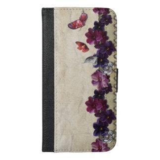 Mariposas florales funda cartera para iPhone 6/6s