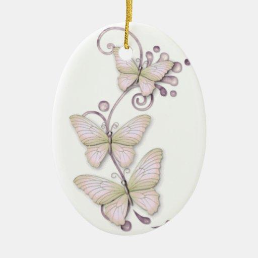 Mariposas florecientes 3 adorno navideño ovalado de cerámica