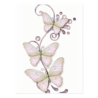 Mariposas florecientes 3 tarjetas postales