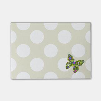 Mariposas, flores, pétalos - amarillo rosado verde notas post-it