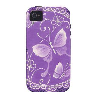 Mariposas hermosas con el cordón en púrpura iPhone 4/4S fundas