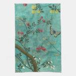 Mariposas hermosas del árbol del flor de la antigü toalla de cocina