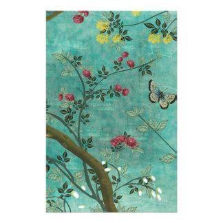 Mariposas hermosas del árbol del flor de la antigü papeleria personalizada