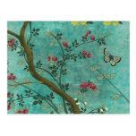 Mariposas hermosas del árbol del flor de la antigü postales