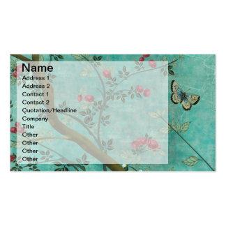 Mariposas hermosas del árbol del flor de la tarjetas de visita