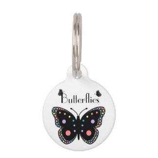 Mariposas hermosas del arco iris identificador para mascotas