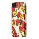 Mariposas, insectos - negro rojo del amarillo iPhone 4 Case-Mate cárcasas