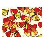 Mariposas, insectos - negro rojo del amarillo postales