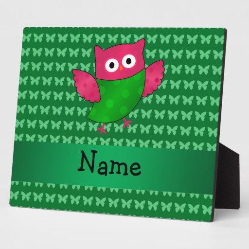 Mariposas lindas conocidas personalizadas del verd placa