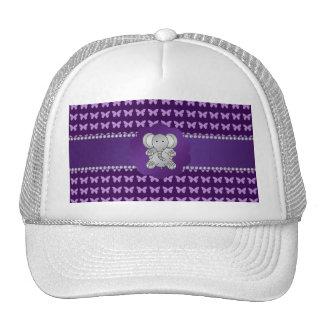 Mariposas lindas de la púrpura del elefante gorros bordados