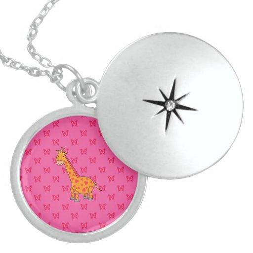 Mariposas lindas del rosa de la jirafa collares personalizados