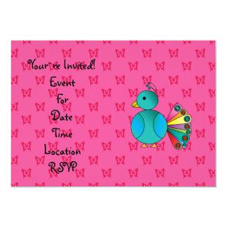 """Mariposas lindas del rosa del pavo real invitación 5"""" x 7"""""""