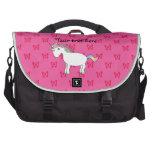 Mariposas lindas del rosa del unicornio bolsas para portatil