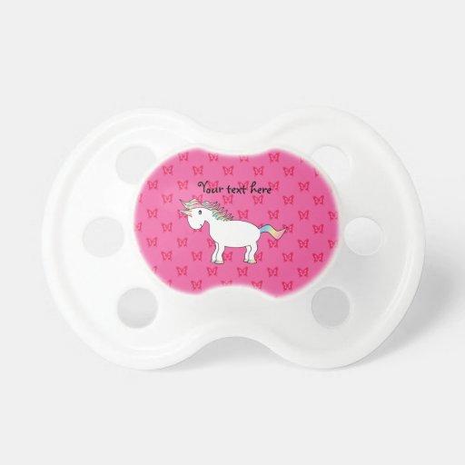 Mariposas lindas del rosa del unicornio chupetes para bebés