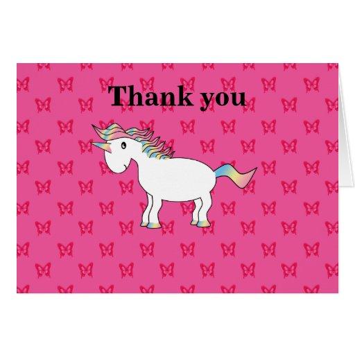 Mariposas lindas del rosa del unicornio felicitaciones