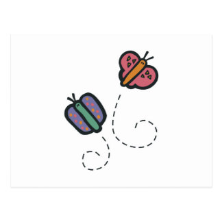 mariposas lindas divertidas del dibujo animado postal