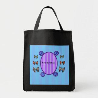 Mariposas lindas en rayas azules bolsa tela para la compra
