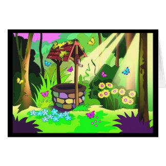 Mariposas mágicas bien afortunadas del bosque que tarjeta de felicitación