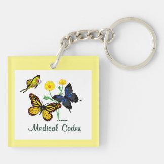 Mariposas médicas del codificador llavero cuadrado acrílico a doble cara