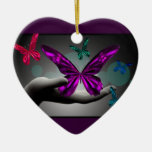Mariposas místicas de neón adorno navideño de cerámica en forma de corazón