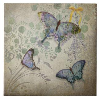 Mariposas modernas del diseño floral del papel pin azulejo cuadrado grande