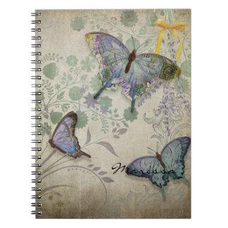 Mariposas modernas del diseño floral del papel pin libro de apuntes