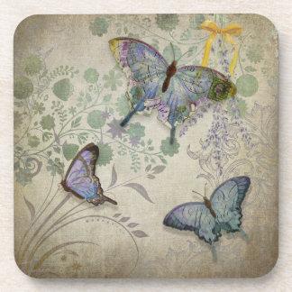 Mariposas modernas del diseño floral del papel pin posavasos de bebidas
