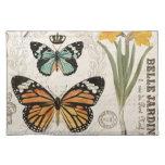 Mariposas modernas del francés del vintage mantel individual