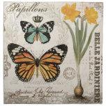 Mariposas modernas del francés del vintage servilletas