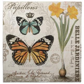 Mariposas modernas del francés del vintage servilleta imprimida