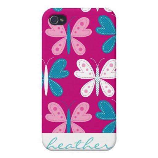 Mariposas modernas en modelo magenta iPhone 4/4S carcasa