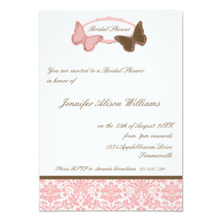"""Mariposas nupciales del damasco del rosa y del invitación 5"""" x 7"""""""