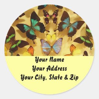 Mariposas, pegatinas de la dirección pegatina redonda
