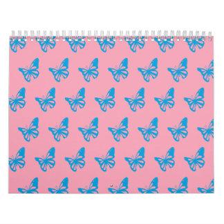 Mariposas pink.ai azul calendario de pared