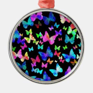 Mariposas psicodélicas adorno navideño redondo de metal
