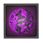 Mariposas, púrpura y negro de Yin Yang Cajas De Joyas De Calidad