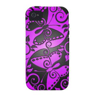 Mariposas, púrpura y negro de Yin Yang iPhone 4/4S Fundas