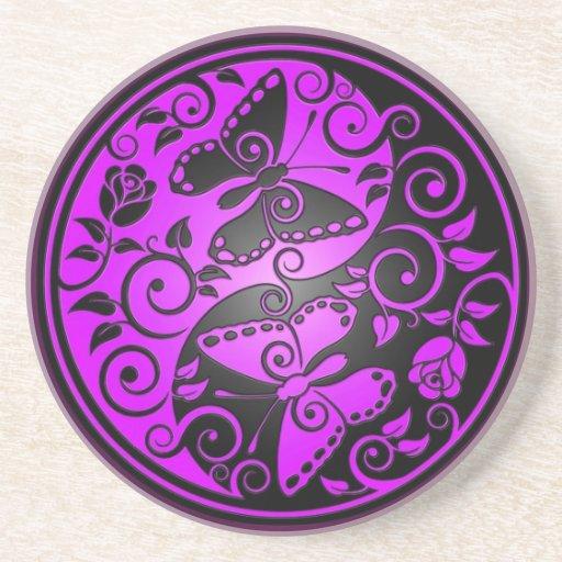Mariposas, púrpura y negro de Yin Yang Posavasos Personalizados