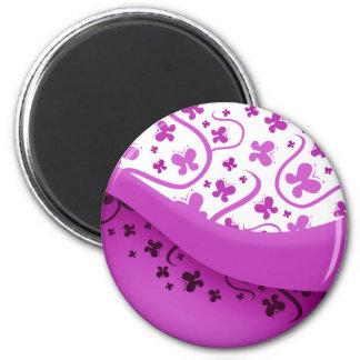 Mariposas púrpuras abstractas imán de frigorifico