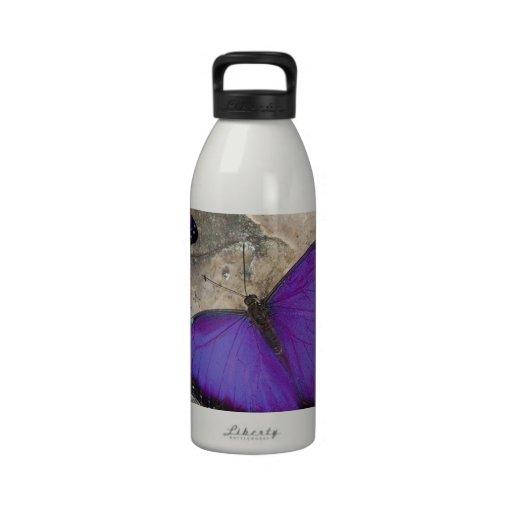 Mariposas púrpuras botella de agua reutilizable