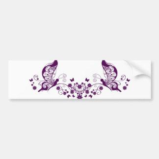 Mariposas púrpuras pegatina de parachoque