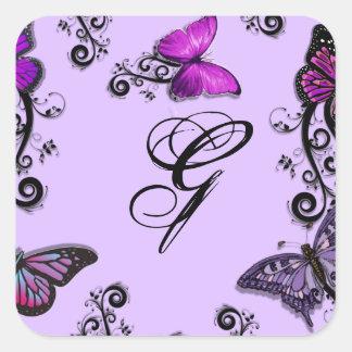 Mariposas púrpuras de encargo pegatina cuadrada