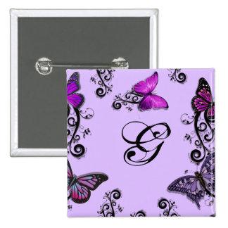 Mariposas púrpuras de encargo pin