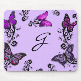 Mariposas púrpuras de encargo tapete de raton