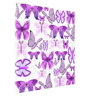 Mariposas púrpuras de la conciencia lona estirada galerías
