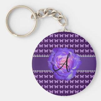 Mariposas púrpuras de los rosas del monograma llaveros