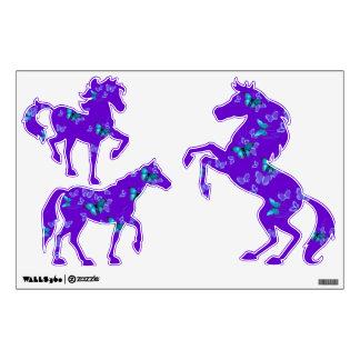 Mariposas púrpuras del azul de los caballos vinilo decorativo