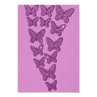 """Mariposas púrpuras del brillo de Lavendar Invitación 3.5"""" X 5"""""""