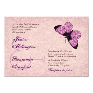 Mariposas púrpuras del lunar que casan la comunicados personalizados